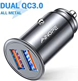 AINOPE allume cigare usb, [Dual QC3.0 Port] 36W/6A [All Metal] chargeur allume cigare usb Mini chargeur voiture Quick Charge Compatible with iPhone 11/11 pro/XR/X/XS, Note 9/Galaxy S10/S9/S8, iPad Air