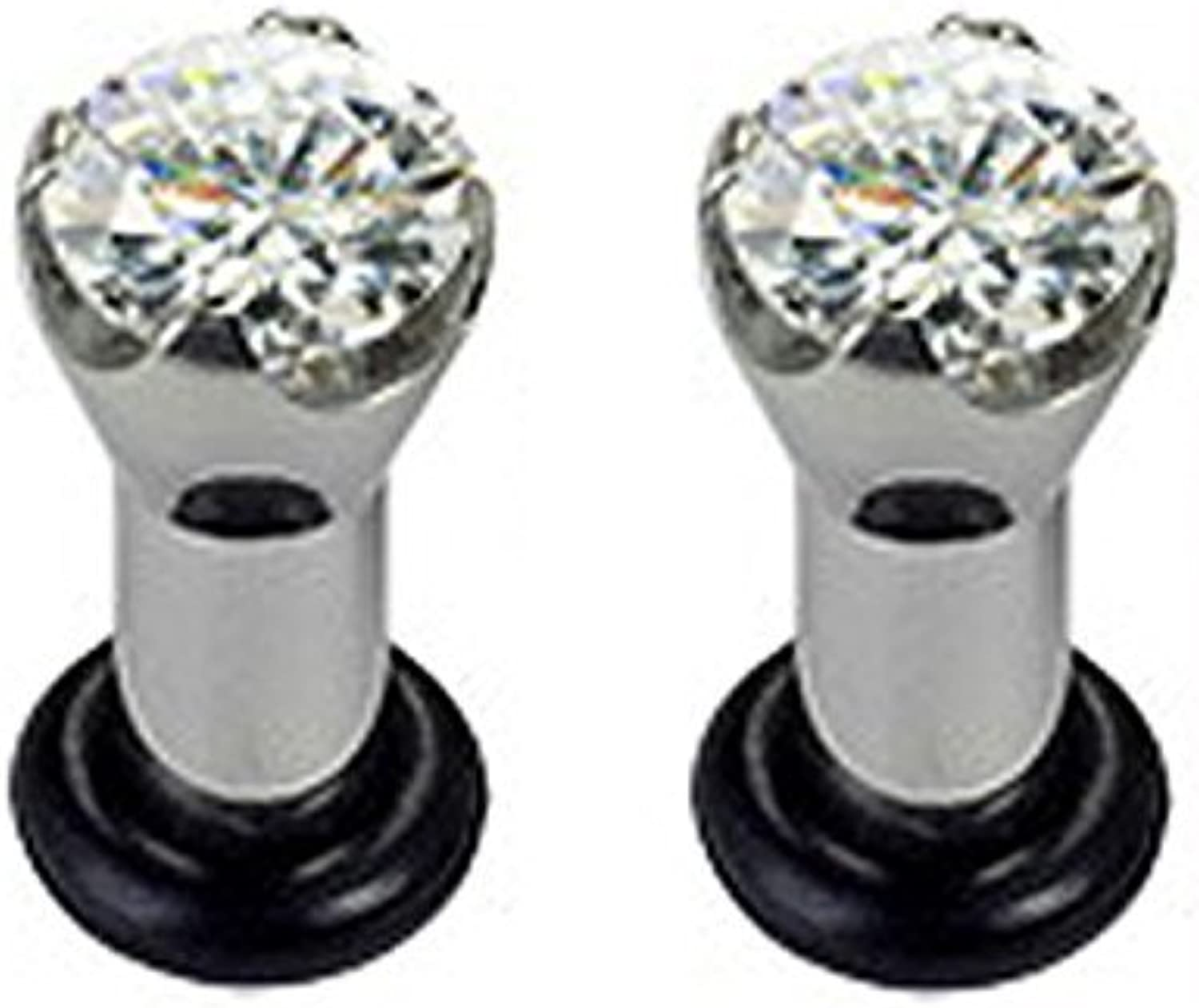 (4g) Stainless Steel 5mm Tunnel Flesh Plug With Cut Diamond Stone by HB101