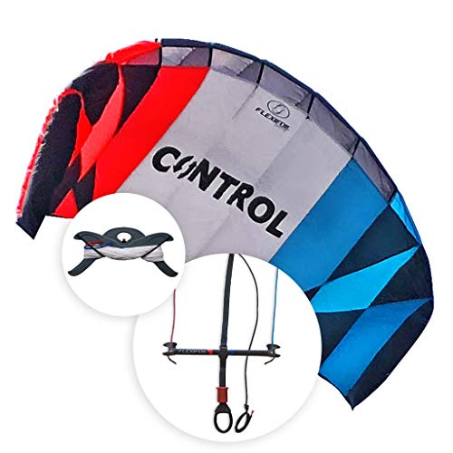 FLEXIFOIL Kitesurf Trainer Kite with Bar | Kitesurfing 2.6m Control Training Kite | Kids & Adult Kiteboarding | Best Beach Summer Sport Power Kite | Fun Kiteboard Kiting Activity | Easy to Fly 2.4m²