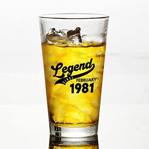 Legend Desde febrero de 1981 Vasos de cerveza personalizados, vaso de cerveza de pinta de 16 onzas ideas para el día de la independencia, papá, mamá, marido, esposa, padrino presente.