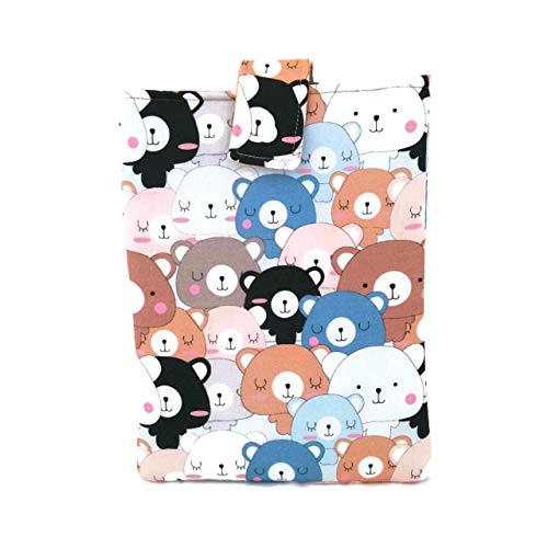 Funda de libro kawaii con temática de Thousand Bears, para proteger libros, tabletas y diarios. Cubierta de libro, funda de libro hecha a mano en Italia, en algodón.