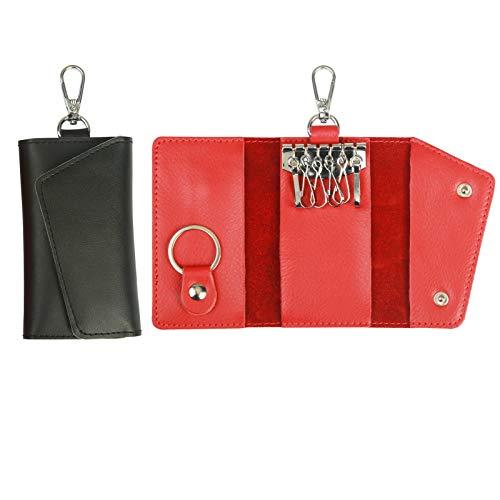 Portafoglio Chiave, ZERHOK Custodia Portachiavi in Pelle da 2 Pacchi Custodia Portamonete Rossa e Nera con 6 Ganci e 1 Portachiavi