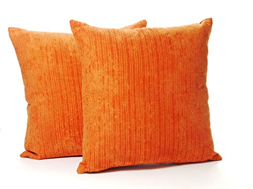 A Pair of 16in x 16in Classic Plain Chenille Cushion Covers in Burnt Orange