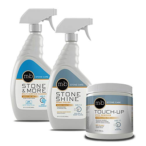 MB Stone Care Marble Repair Kit MB-5 Multi-Surface Cleaner, MB-13 Stone Shine Spray Polish & MB-11 Touch Up Etch Remover Ready to Use Bundle (1Quart / 32FL OZ, 8OZ)