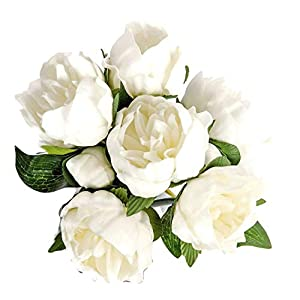 14″ Real Touch Latex Peony Bunch Artificial Spring Flowers for Home Decor, Wedding Bouquets, and centerpieces (6 PCS) (Milky White)