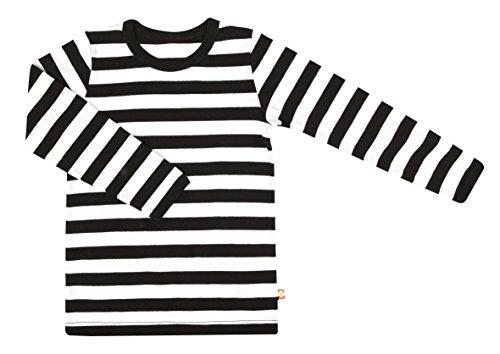 Katvig Kinder Langarmshirt aus Bio-Baumwolle gestreift, Größe:116, Farbe:schwarz/weiß