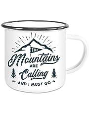 Emaljkopp med Rand Mountains Are Calling – kaffemugg med motiv, campingkopp tryckt emalj med ordspråk eller bilder