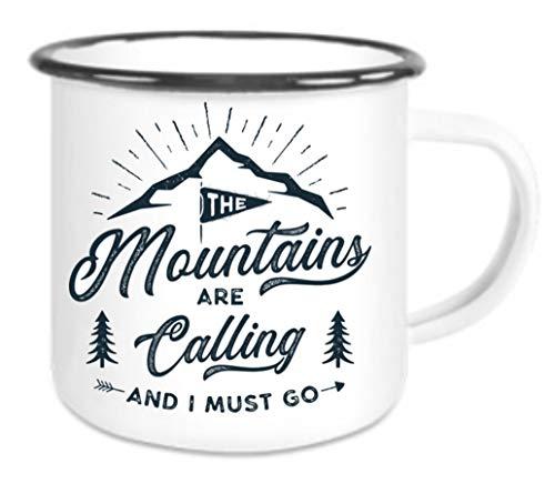 Emaille Tasse mit Rand Mountains Are Calling - Kaffeetasse mit Motiv, Campingtasse Bedruckte Email-Tasse mit Sprüchen oder Bildern