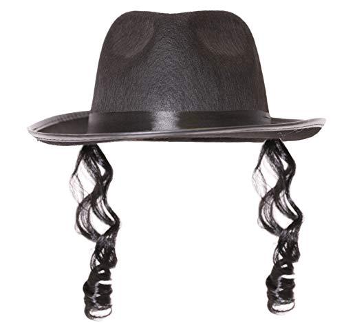 Jüdischer Rabbi-Kostüm, orthodoxer, schwarzer Hut mit gelockten Seitenburnen – nur Hut + Seitenburnen