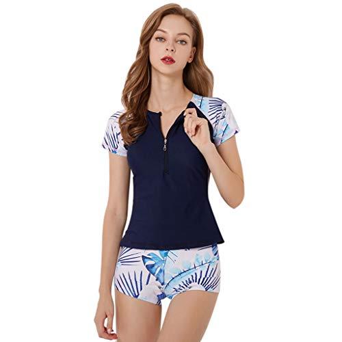 LOPILY Split Badeanzüge Damen Strandmode Sportlich Neoprenanzug Surfbekleidung Zweiteiliger Schwimmen Surfen Tauchen Sport Badeanzug Badebekleidung Plus Size(Marine,M)