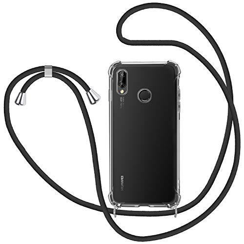 MICASE Funda con Cuerda para Huawei P20 Lite, Carcasa Transparente TPU Suave Silicona Case con Correa Colgante Ajustable Collar Correa de Cuello Cadena Cordón para Huawei P20 Lite - Negro