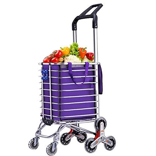 ZHANGYY Klappbarer Einkaufswagen, Treppensteigender Lebensmittelwäschewagen mit drehbaren Radlagern, Transport von bis zu 177 Pfund -Wa-beständigem Hochleistungs-Canvas
