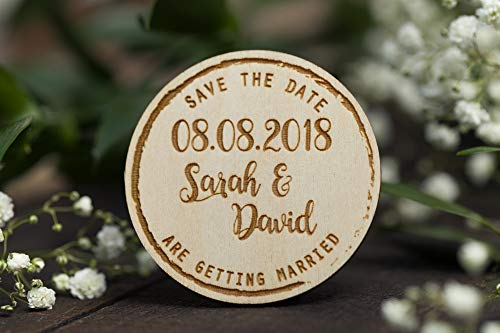 30Pcs Round Wooden Wedding Magnets, Wedding Save The Date Magnet, We Are Getting Married, Wood Save The Date, Wedding Invite Alternative, Wedding Shower Invitation Alternative