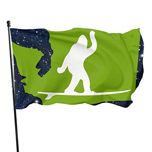 Breeze Flag 3 X 5 Estado de Washington Bigfoot Surf Banderas translúcidas de 100% poliéster de una Sola Capa 90 X 150 cm - Banner 3