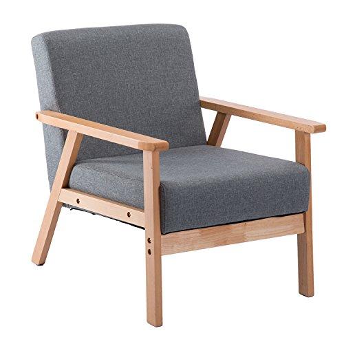 EGGREE Polstersessel Loungesessel Grau Cocktailsessel Wohnzimmersessel Einzelsofa für Esszimmer & Wohnzimmer, Eleganter Retro Stuhl aus Stoff mit Massivholz-Struktur und Rückenlehne