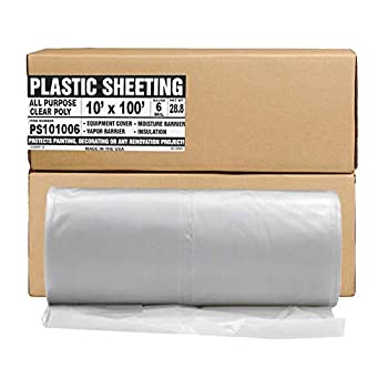 Aluf Plastics Plastic Sheeting - 10  x 100  6 MIL Heavy Duty Gauge - Clear Vapor and Moisture Barrier Sheet Tarp/Drop Cloth for Painting Furniture Covers Carpet Cover Floor Paint Painters