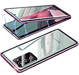 360 Grados Funda para Samsung S20 FE, Delantera y Trasera de Transparente Vidrio Templado Case, Tecnología Adsorción Magnética Metal Bumper Cubierta para Samsung S20 FE,Morado