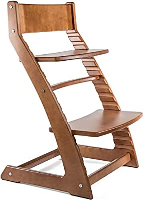 Fornel Heartwood Walnut Adjustable Wooden High Chair Baby Highchair Solution for Babies and Toddlers Dining Highchair from 24 Months