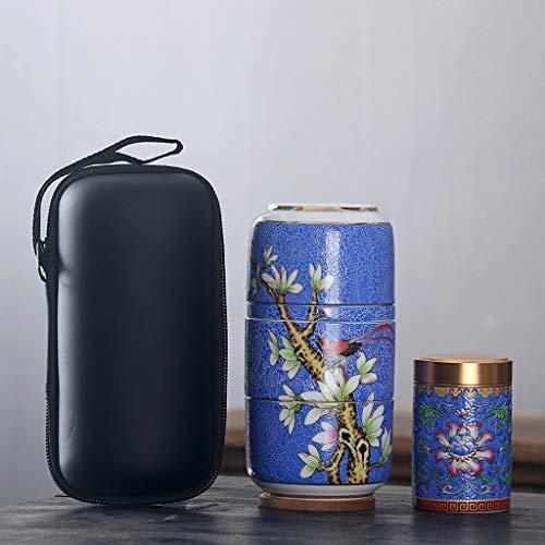 SHYOD Juego de té de Viaje Conjuntos de Utensilios portátiles de cerámica con Cajas de Carrer Tetera con Flores de Filtro TEAWARES