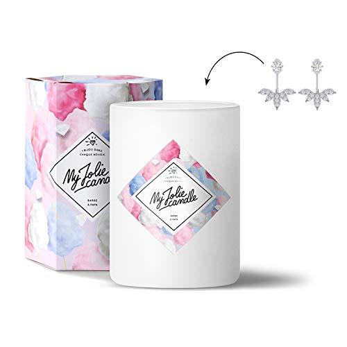 MY JOLIE CANDLE - Bougie parfumée avec Bijou Suprise à l'intérieur - Bijou : Boucles d'oreilles en Argent - Parfum : Barbe à Papa - Cire Naturelle végétale - 330g - 70h Combustion
