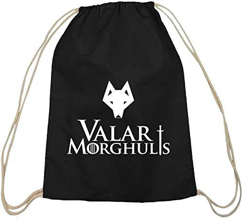 Shirtstreet24, Valar Moghulis Wolf, Baumwoll natur Turnbeutel Rucksack Sport Beutel, Größe: onesize,schwarz natur