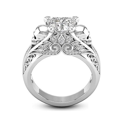 T-Jewelry Elegant Women Filled Silver Skull White Sapphire Wedding Band Engagement Ring (9)