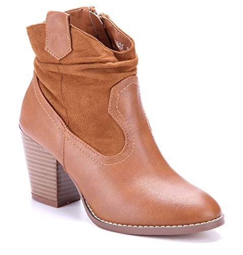 Schuhtempel24 Damen Schuhe Westernstiefel Stiefel Stiefeletten Boots Camel Trichterabsatz 7 cm