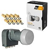 Fuba Quattro LNB LNC für Multischalter-Betrieb DEK 407 ■ LTE- & Mobilfunkabschirmung ■ Wetterschutz (ausziehbar) ■ Full HD 4K UHD ■ 8 Vergoldete F-Stecker von HB-DIGITAL -