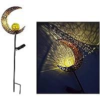ソーラーライト屋外ガーデン装飾 - クラックルガラスボールアースプラグソーラー芝生ランプレトロな中庭の景色投影ランプ,金,moon