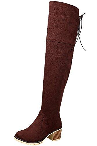 BIGTREE Mujer Botas largas Cordones Otoño Invierno Casual Bloque Sintética Ante Cómodo Botas sobre la rodilla De Marrón 42 EU