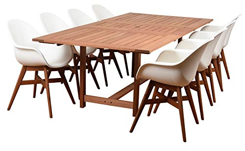 International Home Amazonia Charlotte Deluxe 9 Piece Eucalyptus Rectangular Patio Dining Set Extendable Table