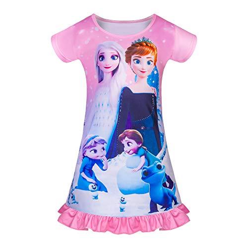 Camisones de Princesa para niñas Camisón de Manga Corta Camisón Lindo Ropa de Dormir 3-8Y Rosa Azul