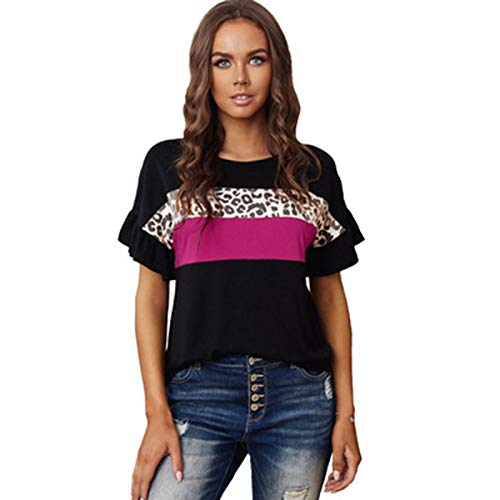 SLYZ 2021 Señoras Verano Nuevo Estampado De Leopardo Contraste De Color Volantes Loose Casual Cuello Redondo Top Mujeres