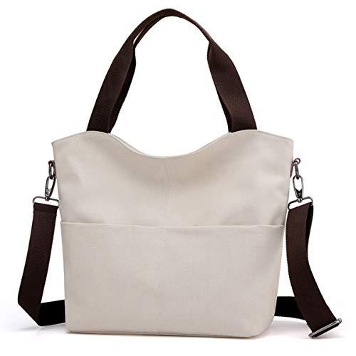 Hobo Handtaschen, DOURR Canvas Crossbody Taschen für Frauen Mode Crossover Geldbörse Baumwolle Schultertasche, Beige (beige), Large
