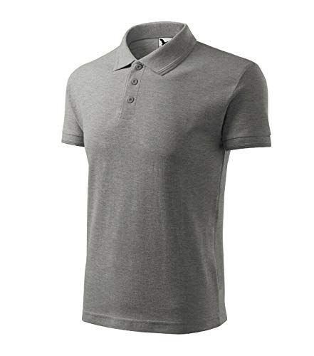 Poloshirt Shirt Polohemd für Kinder Pique Polo von Adler - Größe und Farbe wählbar - (XS, lila) (158 cm/12 Jahre, dunkelgrau melliert)