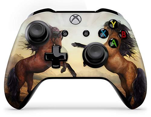 Skins4u Aufkleber Design Schutzfolie Vinyl Skin kompatibel mit Xbox One Controller Zwei Pferde