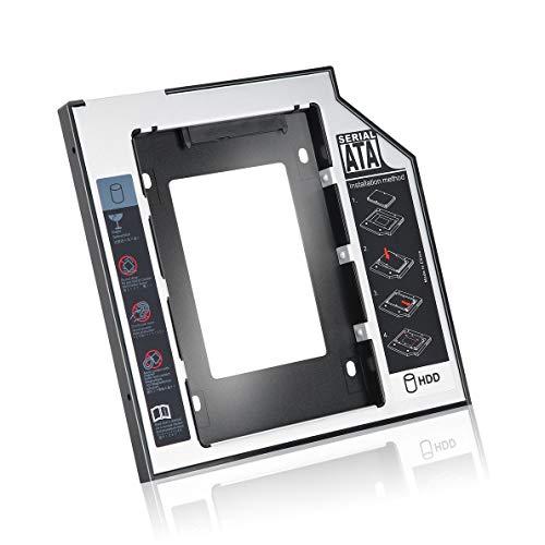 Caddy de disco duro 2Nd, Caddy de disco duro Ssd de segundo disco duro Sata de aluminio universal de 9,5 Mm con 4 tornillos para adaptador de bahía óptica Cd/Dvd-Rom