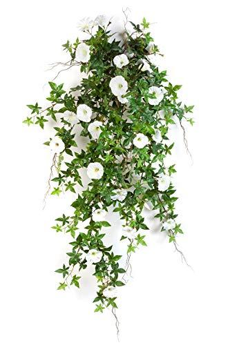 artplants.de Deko XXL Petunien Hänger, weiß - gelb, 95cm - Künstliche Hängepflanze - Kunstblumen Ranke