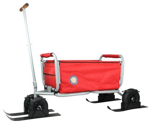 Beachtrekker LiFe mit Schneekufen - Schlitten, Farbe rot Faltbarer Bollerwagen der