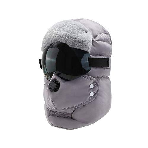 WSZDKA-WOMENBELT Chapka Homme Trappeur Bomber Casquettes avec Masque DéTachable Anti-Vent Anti-PoussièRe Unisexe Chapeau Chaud pour Ski Snowboard VéLo Moto 22-23,5 Pouces Gris (Lunettes Noires)