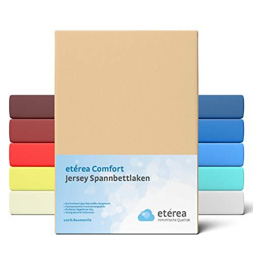 etérea Comfort Jersey Kinder Spannbettlaken 60x120 bis 70 x 140 cm - Weiches Spannbetttuch aus 100% Baumwolle, Bettlaken mit ca. 12 cm Steghöhe und 140 g/m², Sand