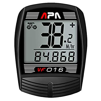 DREAM SPORT Bike Computer Bicycle Speedometer and Odometer 16-Function Wired Bike Computer Waterproof DCY016 Black