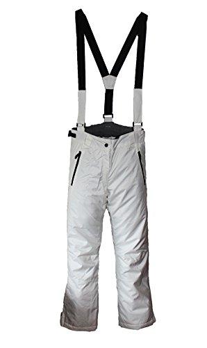 Damen Skihose mit Träger Snowboardhose Schneehose Ski Winterhose Weiß L