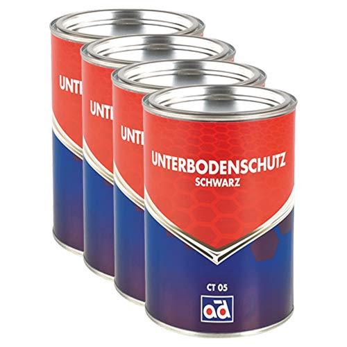 AD Chemie 4X Unterbodenschutz 2,5kg Schwarz Pinseldose Asbestfrei Kautschuk Lange Wirksamkeit Gegen Rost Struesalz Steinschlag 000306orca