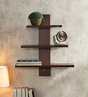 Dream Shop Engineered Wood Wall Shelves ,Glossy Finish ,Set Of 4,Brown