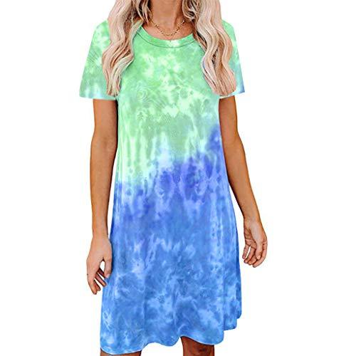 Toamen Women's T Shirt Dress Tie-dye Print Round Neck Short/Long Sleeve Casual Loose Swing A-line Mini Dress(Green,16)