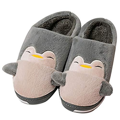 Unisex Hausschuhe winter Wärme für Damen Herren Hausschuhe Baumwolle Pantoffeln Kleiner Pinguin Plüsch Slippers Damen Hausschuhe Rutschfester Hausschuh Indoor Home Schuhe für Herren Damen 36-45