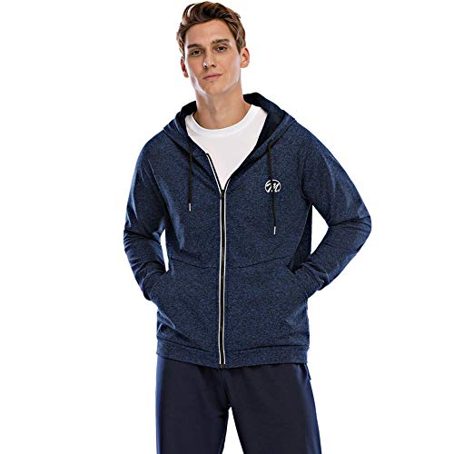 Men's Fleece Hooded Jacket, Long Sleeve Full Zip Midweight Hoodie Sweatshirt Reflective Track Top with Pockets Blue