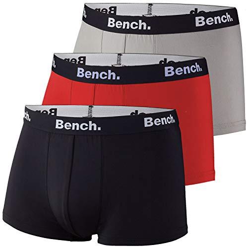 Bench Herren Hipster, Boxershorts, Short Boxer, Pants, Microfaser, 3er Pack (XL, Navy/grau/rot)