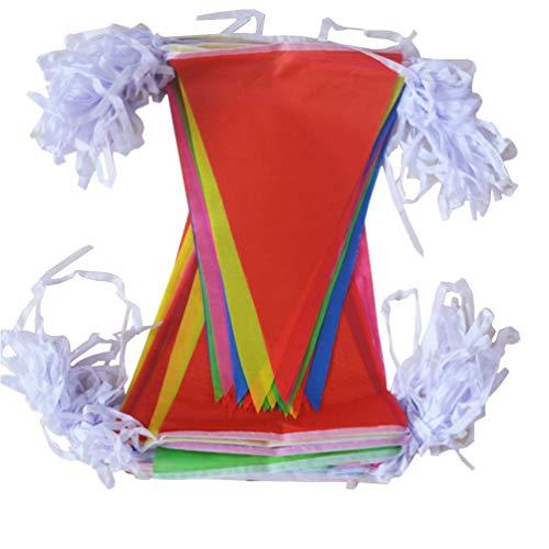 Yarnow 100M Wimpel Banner Dreieck Fahnen Bunting Bunte Flagge Wimpel für Geburtstagsfeier Dekor Wetterfest Feierlichkeiten